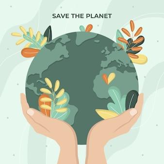 Rette das planetenkonzept mit vegetation