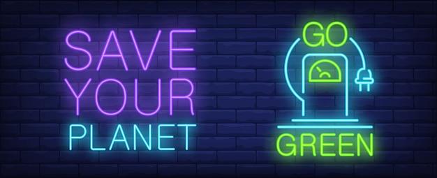 Rette deinen planeten leuchtreklame. elektroauto-ladestation mit hängendem netzstecker
