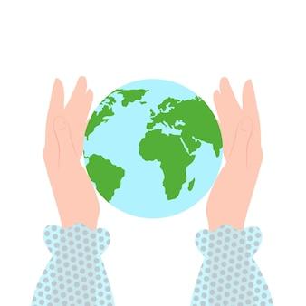 Rette den planeten globus in weiblichen händen rette die erde tag der erde konzept