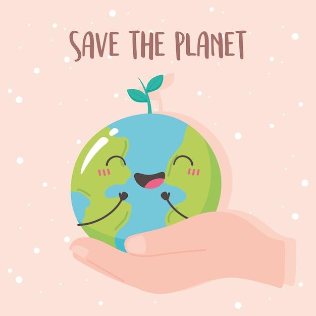 Rette den planeten, hand mit niedlicher erdkarten-karikaturillustration