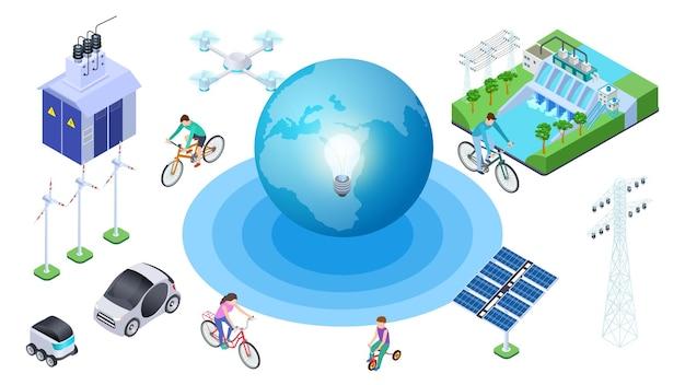 Rette den planeten. isometrische alternativquellen, erhaltung der ökologie. vector earth elektroautos, wasserkraftwerk, drohne. illustrationsökologieplanet, recyclingkugel, schutzumgebung