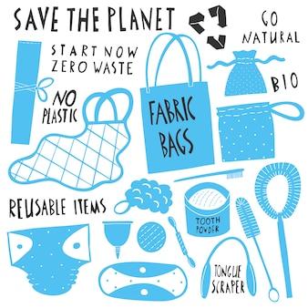 Rette den planeten. sammlung von wiederverwendbaren gegenständen ohne abfall. einkaufstüten aus öko-stoff, natürliche zahnbürste und bürsten, menstruationstasse, wiederverwendbare hygieneartikel. hand gezeichnete karikaturillustrationen.