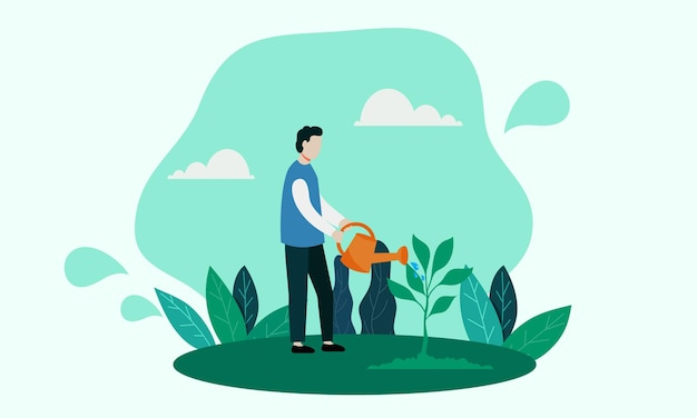 Rette die erde, indem du die pflanzen gießt