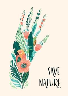Rette die natur. vektor-illustration