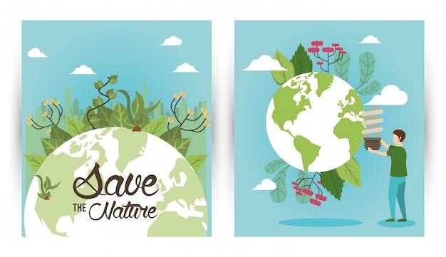 Rette die naturkampagne mit menschen und weltplaneten