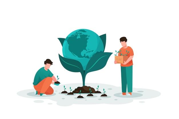 Rette die planetenmenschen, die die erde pflanzen
