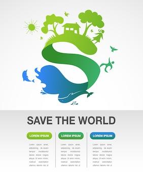 Rette die welt - natur- und ökologie-infografiken