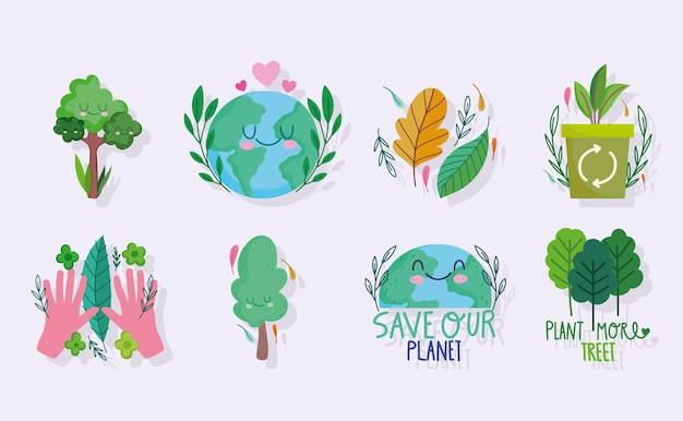 Rette die welt, pflanze ökologische bäume und recycle das set