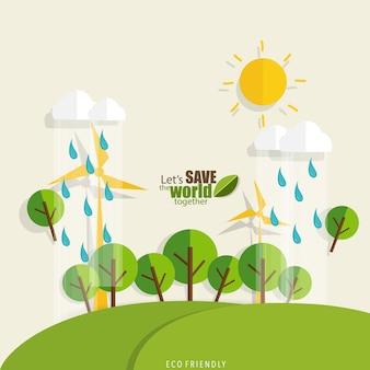 Rette die welt tag sonne, regen und bäume