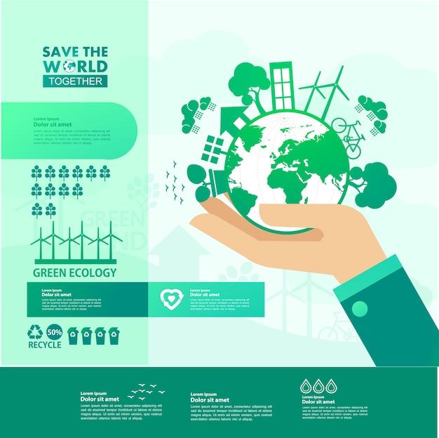 Rette die welt zusammen grüne ökologie.