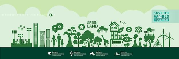 Rette die welt zusammen grüne ökologie