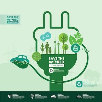 Rette die welt zusammen grüne ökologieillustration.
