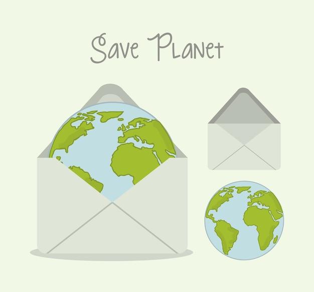 Retten sie planet über grüner hintergrundvektorillustration