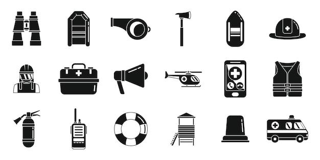 Retter icons set einfachen vektor. hurrikan flut