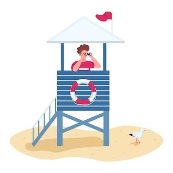 Retter mit fernglas im flachen farbvektor des rettungsschwimmerturms gesichtsloser charakter. sicherheit am strand, life guard stand isoliert cartoon illustration
