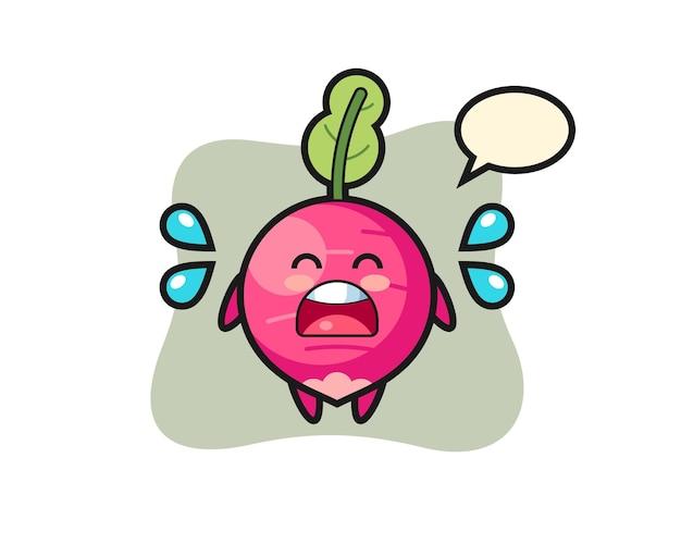Rettich-cartoon-illustration mit weinender geste, süßem stildesign für t-shirt, aufkleber, logo-element