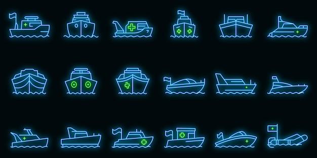Rettungsboot-icons gesetzt. umrisse von rettungsboot-vektorsymbolen neonfarbe auf schwarz