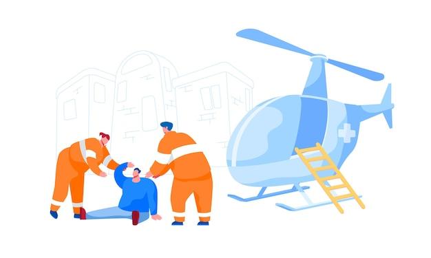 Rettungsfiguren in uniform helfen dem verletzten mann auf der straße beim transport ins krankenhaus. rettungshubschrauber, erste-hilfe-transport für medizinisches personal. cartoon menschen