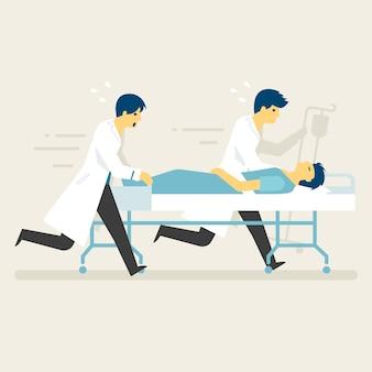 Rettungskräfte mit notfallaufnahme zur intensivstation.