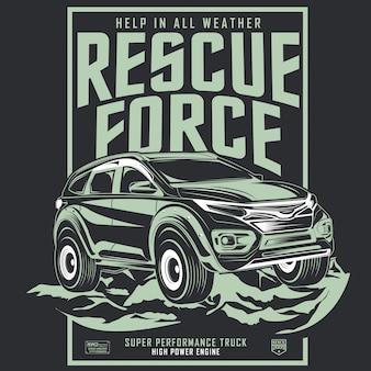 Rettungskraft, plakat des abenteuerautos