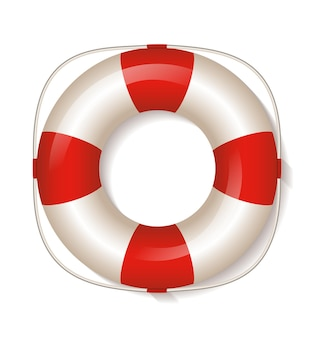 Rettungsring auf weißem hintergrund illustration.
