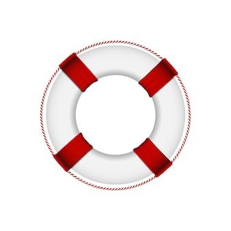 Rettungsring lokalisiert auf weißem hintergrund