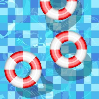 Rettungsring-vektor-symbol. schwimmschutzsymbol der aufblasbaren ringausrüstung. idyllisches wasser des sonnigen erholungsortferienfeiertags des sommers. hohe ansicht vom oben genannten pool.