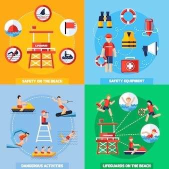 Rettungsschwimmer 4 flache icons square zusammensetzung