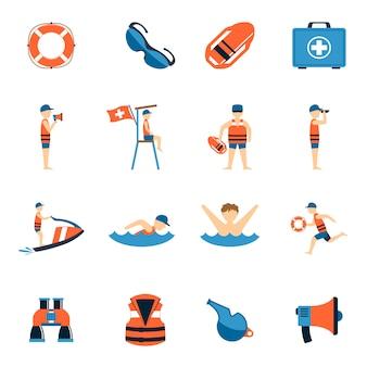 Rettungsschwimmer icons set