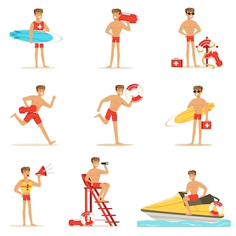 Rettungsschwimmer mann charakter macht seinen job.