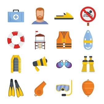 Rettungsschwimmer speichern icons set