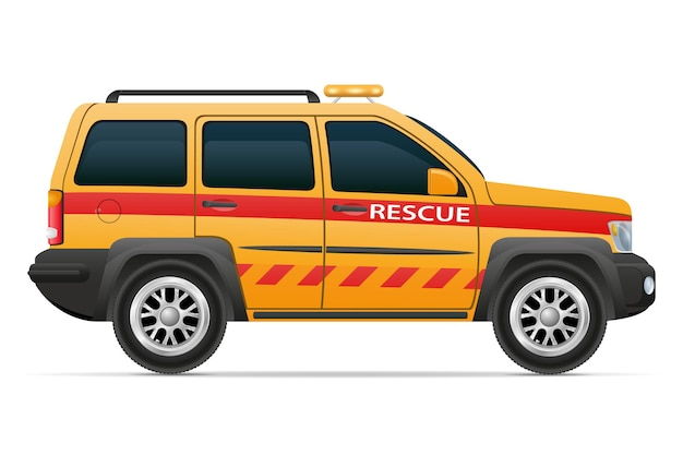 Rettungsschwimmerautofahrzeug-fahrzeugillustration lokalisiert auf weißem hintergrund