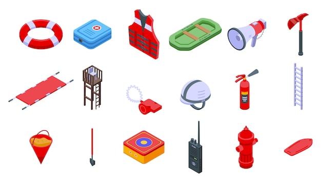 Rettungssymbole gesetzt. isometrischer satz von rettervektorikonen für webdesign lokalisiert auf leerraum