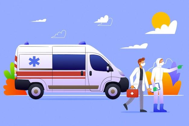 Rettungswagen mit coronavirus-konzept
