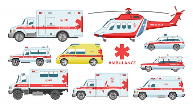 Rettungswagen oder van für rettungswagen Premium Vektoren