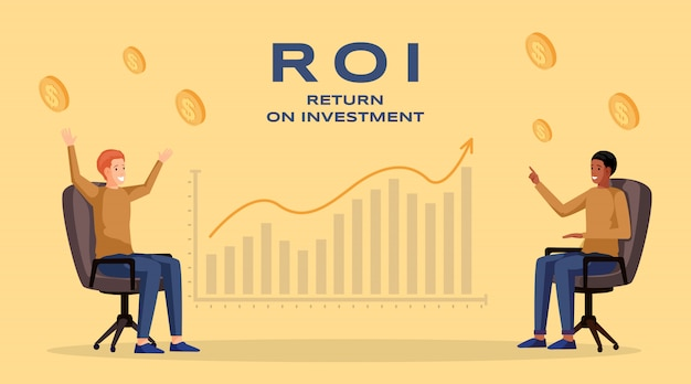 Return on investment banner vorlage. gewinn und einkommen, wirtschaft und finanzen, geschäftsstrategie und finanziellen erfolg. roi, umsatzsteigerndes planungsplakat-layout