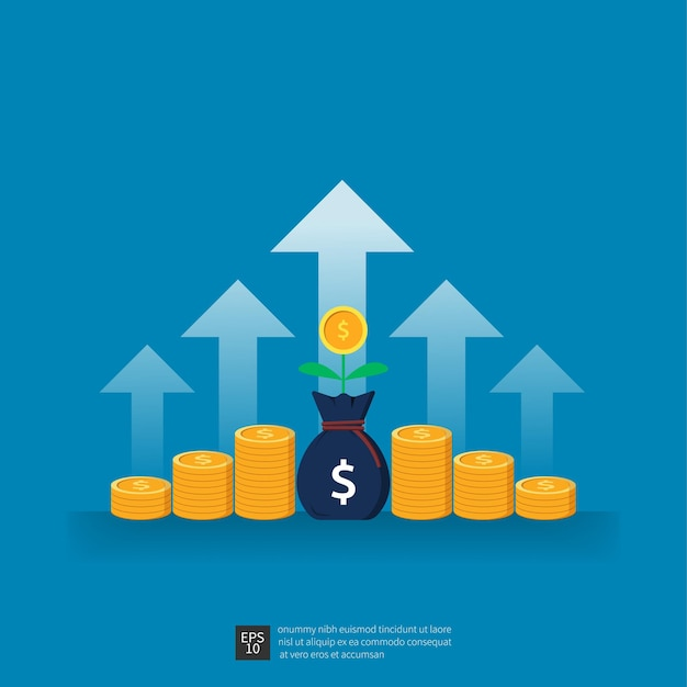 Return on investment des geschäftswachstumspfeils zum erfolgskonzept. finanzielle leistung, die vektorillustration erhöht.