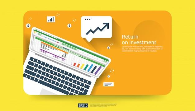 Return on investment, gewinnchance-konzept. geschäftswachstum zum erfolg mit geschäftsbericht auf pc-bildschirm. diagramm diagramm erhöhen und dollar pfeile münzen wachsen.