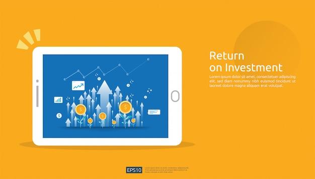 Return on investment, gewinnchance-konzept. geschäftswachstumspfeile zum erfolg auf tablettenschirm. diagramm diagramm erhöhen und dollar münzen pflanze wachsen.