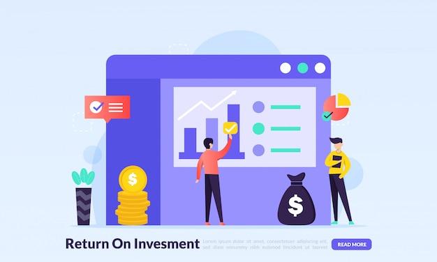 Return on investment-konzept, wachsendes geschäftseinkommen
