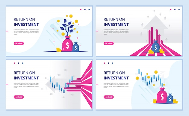 Return on investment, roi-chart und grafik-landingpage
