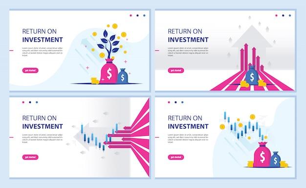 Return on investment, roi-chart und grafik-landingpage