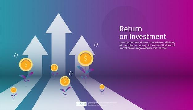 Return on investment roi, gewinnchance-konzept. geschäftswachstum pfeile zum erfolg. pfeil mit dollar-pflanze münzen, grafik und grafik zu erhöhen.