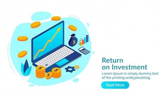 Return on investment (roi) konzept.