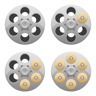 Revolverzylinder-entwurfsillustration lokalisiert auf weißem hintergrund
