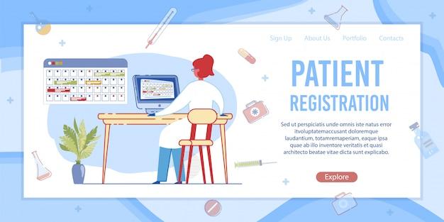 Rezeptionist registrieren sie das medizinische formular am computer