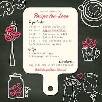 Rezeptkarte kreativer hochzeits-einladungsentwurf