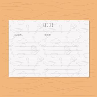 Rezeptkarte mit küchenwerkzeugmuster