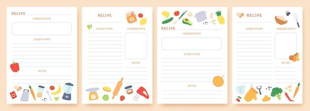 Rezeptkarten. seiten für kulinarisches buch verziert mit zutaten und küchenutensilien. symbole für die zubereitung von speisen. koch-kartenvorlage vektor-set. platz für anweisungen und notizen zu geräten und produkten