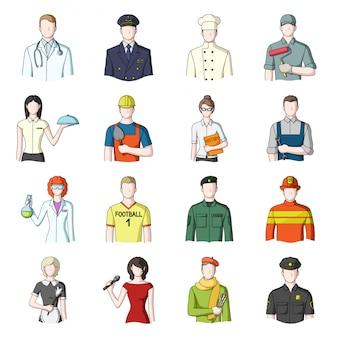 Rfession cartoon gesetztes symbol. professionelle leute. lokalisierter gesetzter ikonenberuf der karikatur.